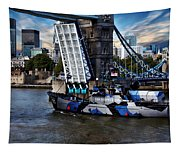 Tower Bridge And Boat Tapestry
