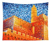 Tower Of David At Night Jerusalem Original Palette Knife Painting Tapestry