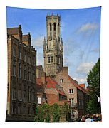 Tower Of The Belfrey From The Canal At Rozenhoedkaai Tapestry