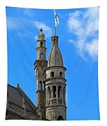 Towers Of The Town Hall In Bruges Belgium Tapestry