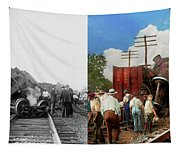 Train - Accident - Butting Heads 1922 - Side By Side Tapestry