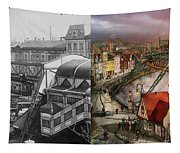 Train Station - Wuppertal Suspension Railway 1913 - Side By Side Tapestry