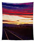 Train Track Sunset Tapestry