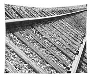 Train Tracks Triangular In Black And White Tapestry