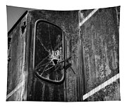 Train Vandalized Black And White Tapestry