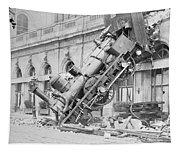 Train Wreck At Montparnasse Station Tapestry