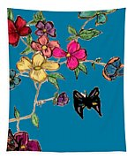 Transparent Flowers And Butterflies In Color Tapestry