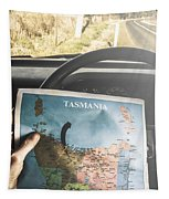 Travelling Tourist With Map Of Tasmania Tapestry