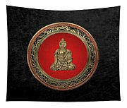 Treasure Trove - Gold Buddha On Black Velvet Tapestry