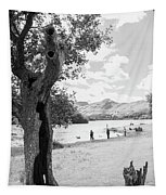Tree And People By The Lake Tapestry