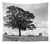 Tree And The Cage Tower In The Distance In Lyme Park Estate In B Tapestry
