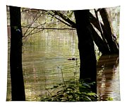 Tree Bowing To Swimming Beaver  Tapestry