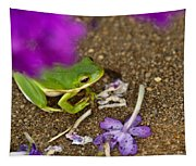 Tree Frog Under Flower Tapestry
