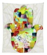 Tree Of Life Hamsa- Art By Linda Woods Tapestry