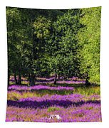 Tree Stumps In Common Heather Field Tapestry