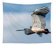 Tri-colored Heron In Flight Tapestry