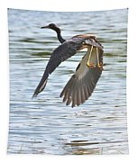 Tri Colored Heron Over The Pond Tapestry
