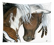 Tri Colored Pinto Horse Tapestry