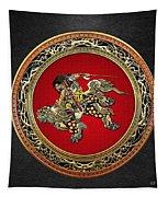 Tribute To Hokusai - Shoki Riding Lion  Tapestry