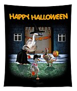 Trick Or Treat Time For Little Ducks Tapestry