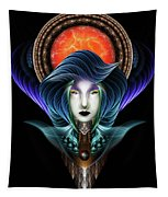 Trilia Red Nebula Fractal Art Portrait Tapestry