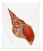 Triton Shell On White Vertical Tapestry