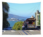 Trolley Descending Into San Francisco Tapestry