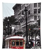 Trolley On Bourbon And Canal  Tapestry