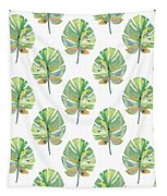 Tropical Leaves On White- Art By Linda Woods Tapestry by Linda Woods