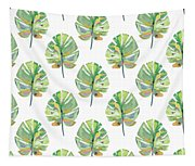 Tropical Leaves On White- Art By Linda Woods Tapestry