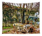 Truck N Tree Tapestry