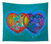 True Blue Hearts Tapestry