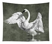 Trumpeter Swan In The Fog Tapestry
