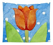 Tulip Blue White Spot Background Tapestry