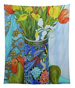 Tulips And Iris In A Japanese Vase, With Fruit And Textiles Tapestry