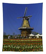 Tulips At The Windmill Tapestry