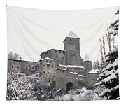 Tures Castle In The Snow Tapestry