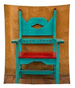Turquoise And Red Chair Tapestry