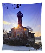 Turtle Rock Light House At Sunrise Tapestry