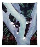Tuxedo Cat In Mimosa Tree Tapestry