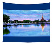 Twilight City Lake View Tapestry