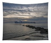 Twilight Steaming Into Charleston Harbor Tapestry