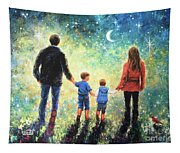 Twilight Walk Family Two Sons Tapestry