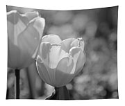 Twin Tulips B/w Tapestry