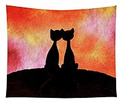Two Cats And Sunset Silhouette Tapestry