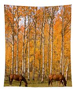 Two Colorado High Country Autumn Horses Tapestry