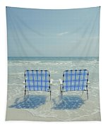 Two Empty Beach Chairs Tapestry