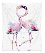 Two Flamingos Watercolor Famingo Love Tapestry