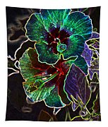 Two Hibiscus Glowing Edges Abstract Tapestry