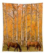 Two Horses Grazing In The Autumn Air Tapestry